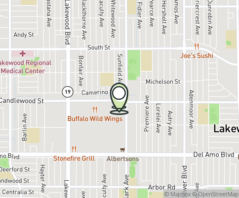 Map with pin near 4993 Candlewood St., Lakewood, CA 90712 for Candlewood.