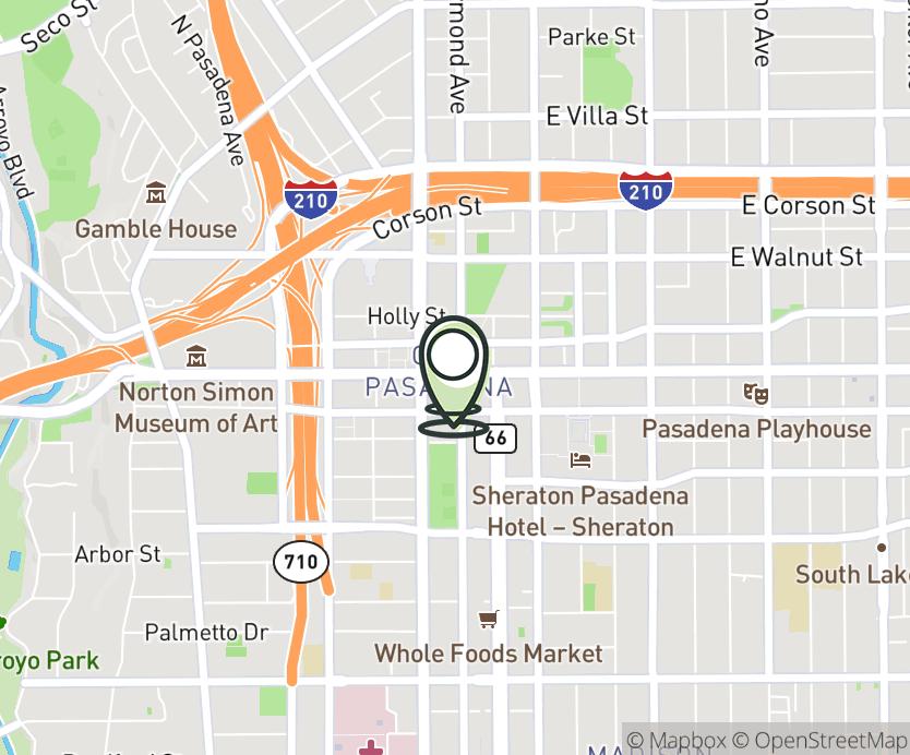 Map with pin near 60 East Colorado Blvd, Pasadena, CA 91105 for Pasadena.