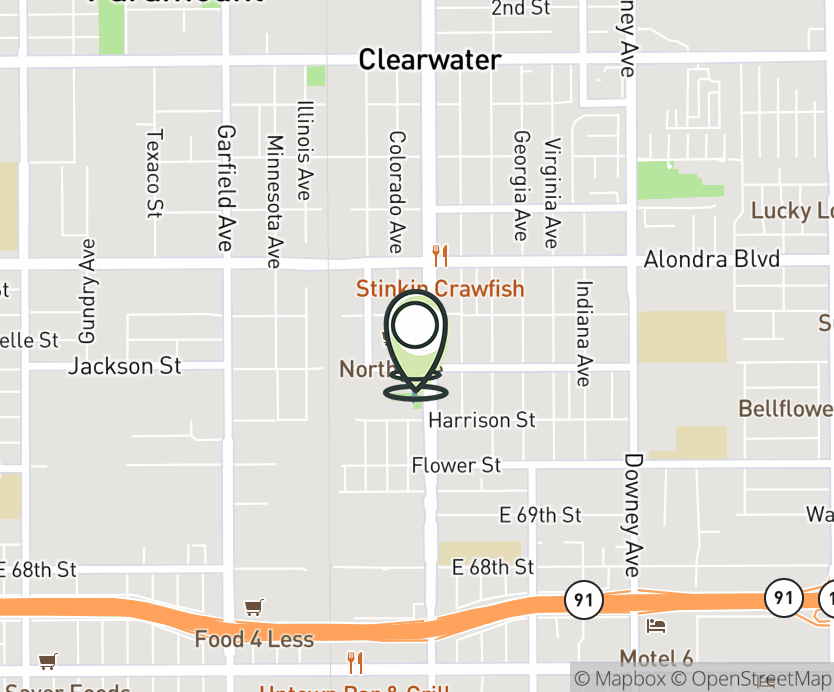 Map with pin near 16289 Paramount Blvd., Paramount, CA 90723 for Paramount Town Center West.
