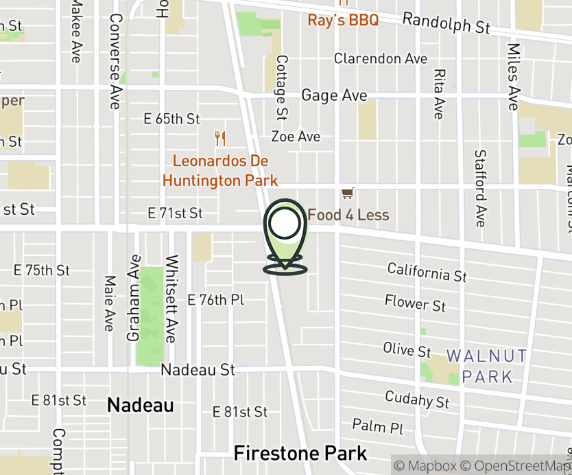 Map with pin near 2118 East Florence Ave., Huntington Park, CA 90255 for La Alameda Shopping Center.