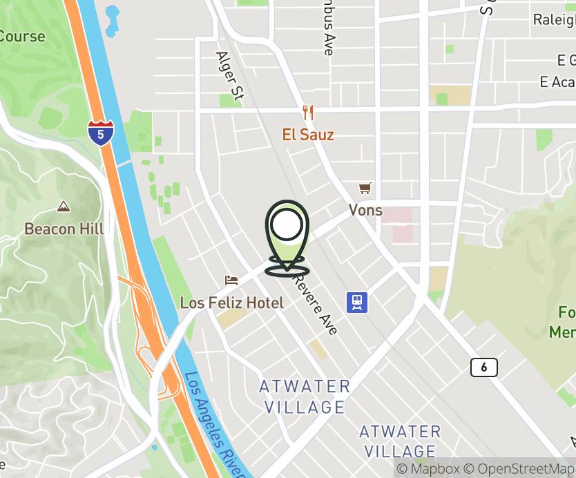 Map with pin near 2919 Los Feliz Blvd., Los Angeles, CA 90039 for Franciscan Metro Center.