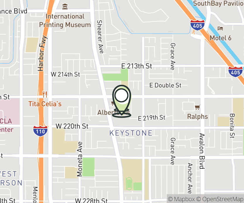 Map with pin near 168 E Carson St, Carson, CA 90745 for Carson & Main.