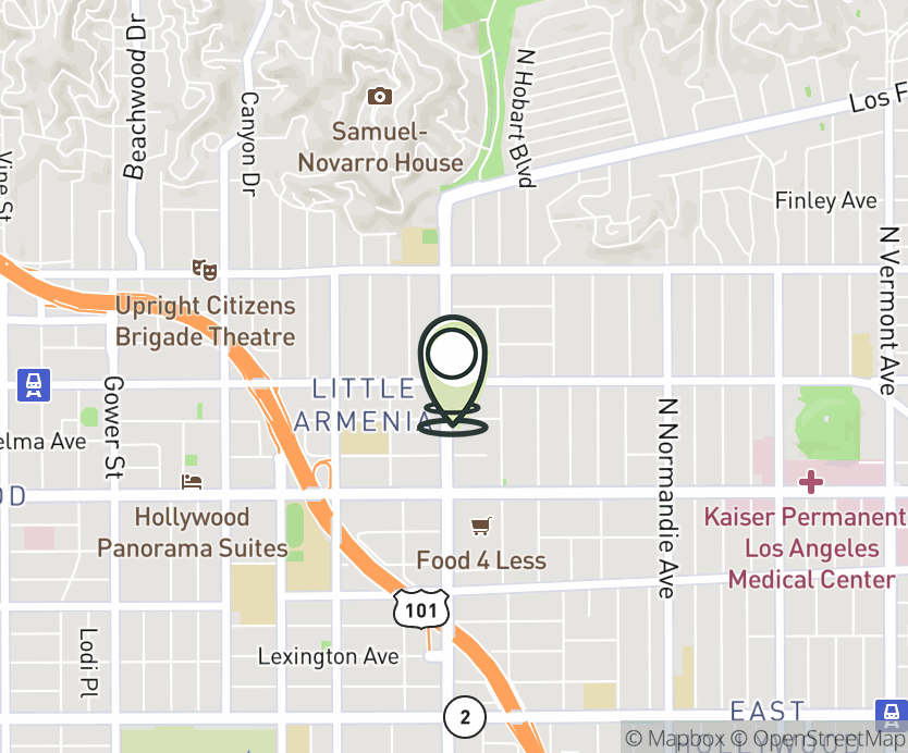 Map with pin near 5453 Hollywood Blvd., Los Angeles, CA 90027 for Hollywood & Western.