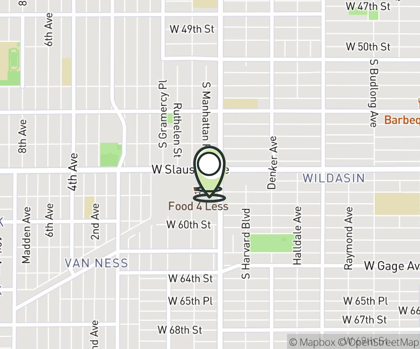 Map with pin near 1852 W. Slauson Ave., Los Angeles, CA 90047 for Chesterfield Square.