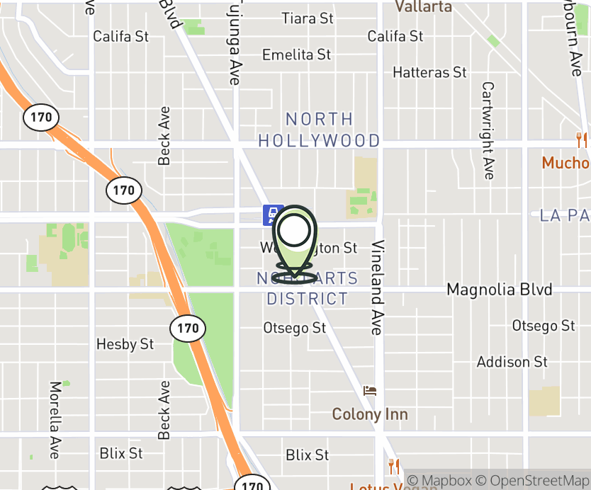 Map with pin near 5300 Lankershim Blvd, North Hollywood, CA 91601 for NOHO Commons.
