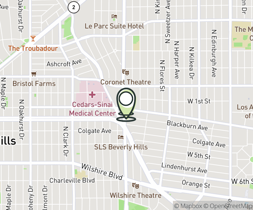 Map with pin near 8495 West 3rd St., Los Angeles, CA 90048 for Beverly Connection.