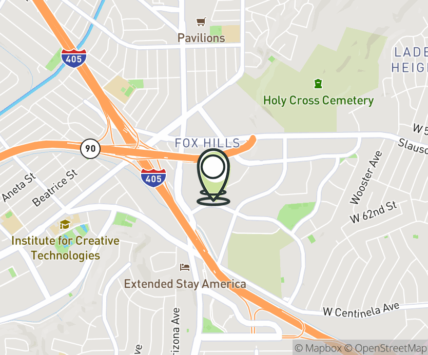Map with pin near 6000 Sepulveda Blvd., Culver City, CA 90230 for Westfield Culver City Mall.