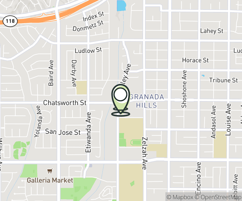 Map with pin near 18145 Chatsworth St, Los Angeles, CA 91344 for Granada Village.