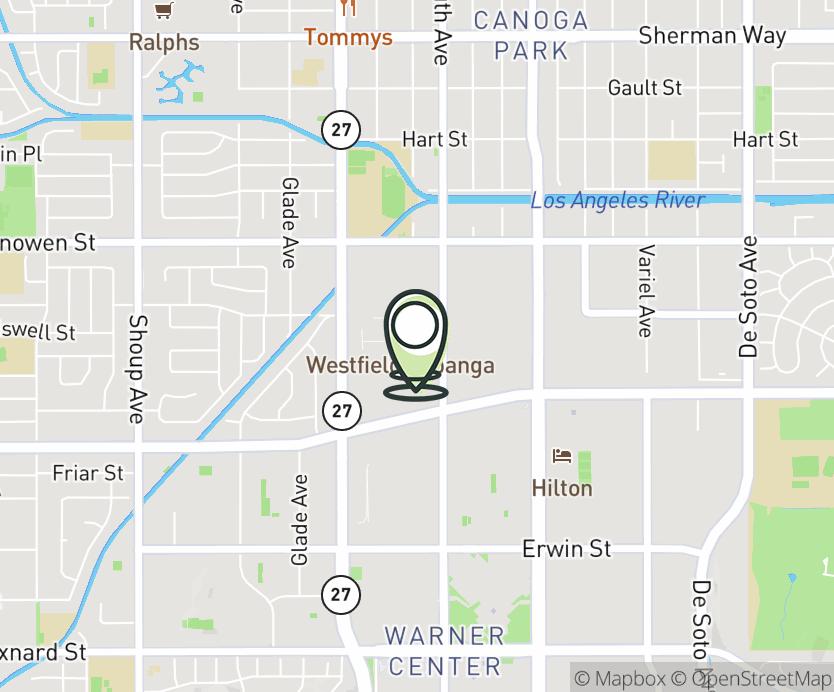 Map with pin near 6600 Topanga Canyon Blvd, Canoga Park, CA 91303 for Westfield Topanga Mall.