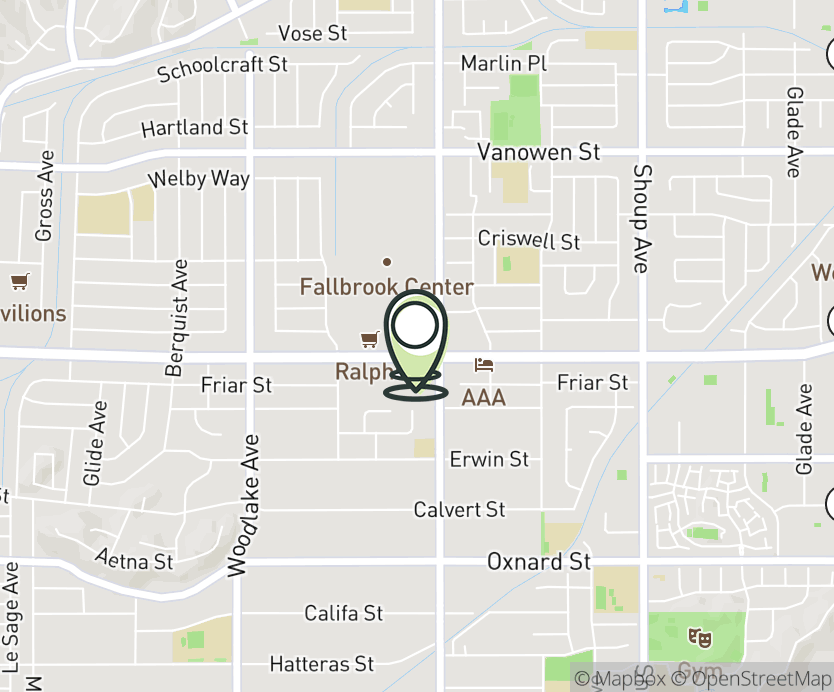Map with pin near 22800 Victory Rd, Woodland Hills, CA 91367 for Victory & Fallbrook.