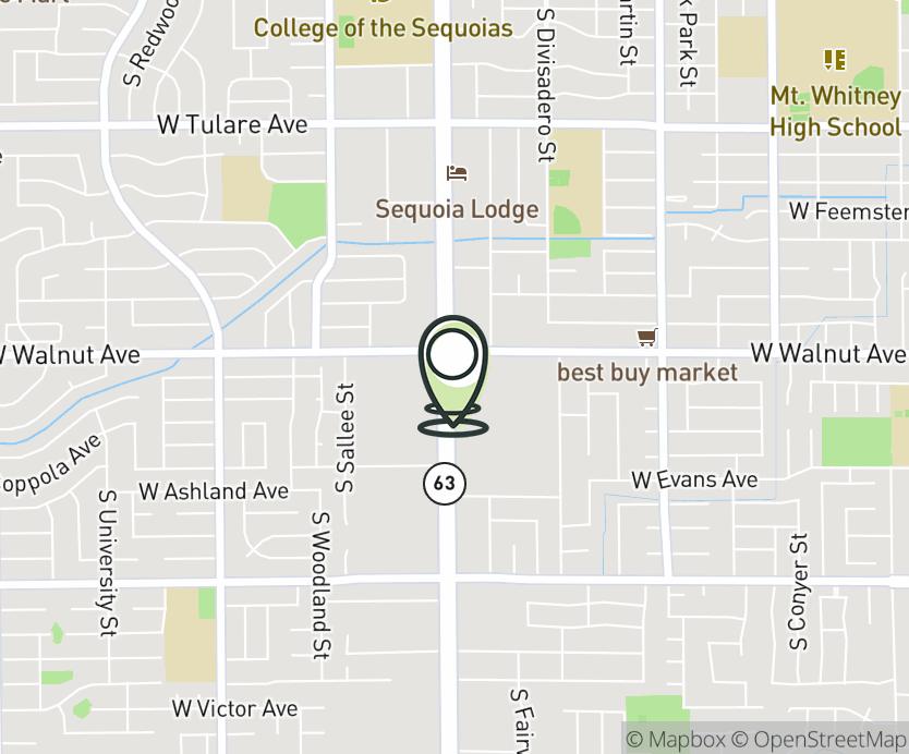Map with pin near 2038 S. Mooney Blvd., Visalia, CA 93277 for Visalia.