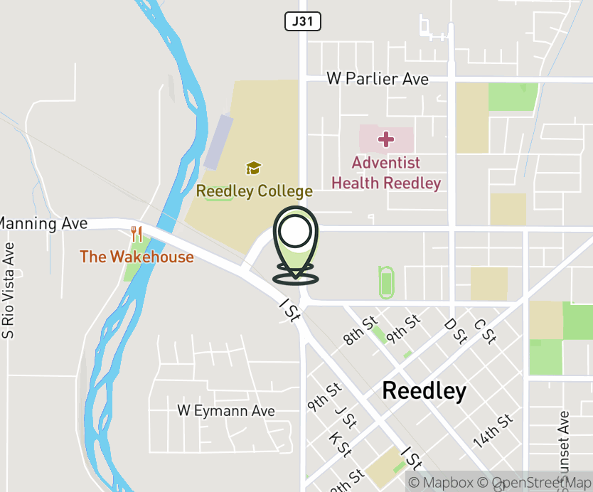 Map with pin near 765 N. Reed Ave., Reedley, CA 93654 for Riverwalk Shopping Center.