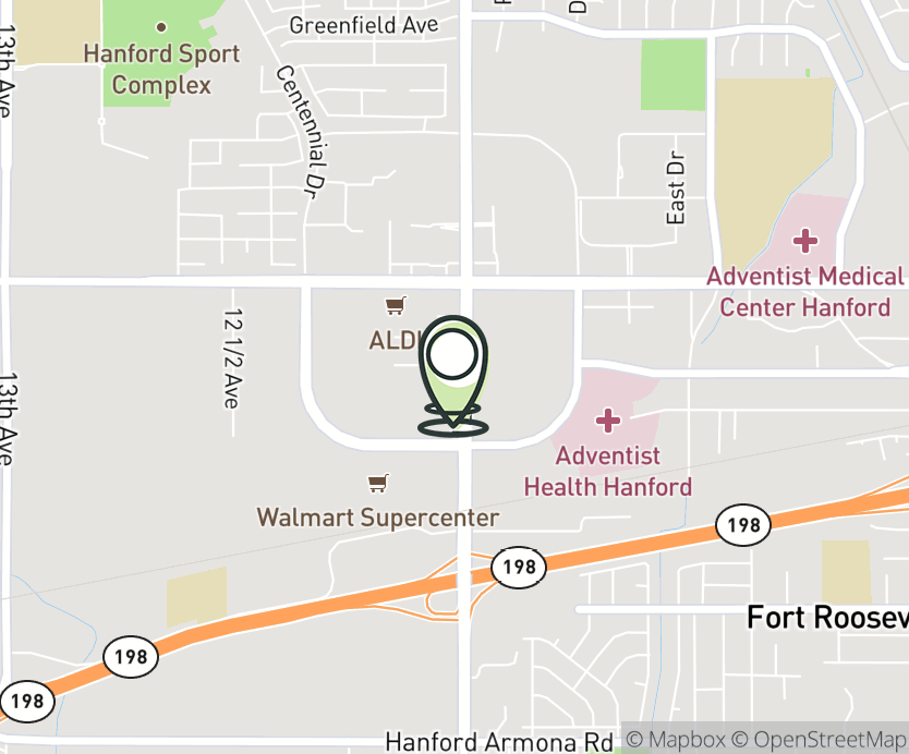 Map with pin near 186 N. 12th Ave., Hanford, CA 93230 for Hanford.