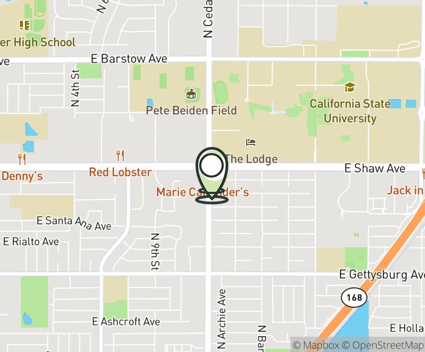 Map with pin near 4950 B N. Cedar Ave., Fresno, CA 93726 for Cedar & Shaw.
