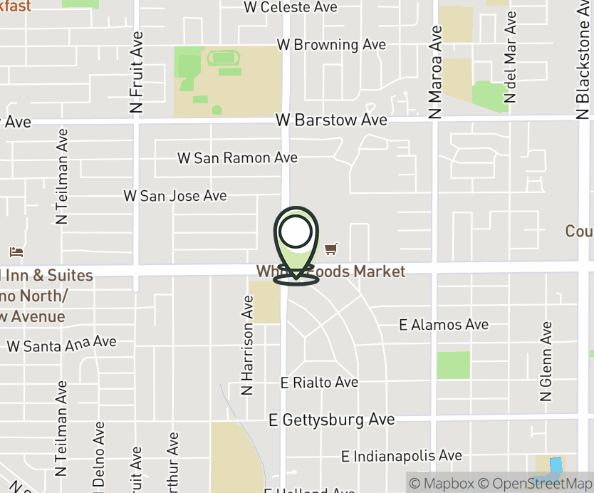 Map with pin near 5060 N. Palm Ave., Fresno, CA 93704 for Fig Garden.