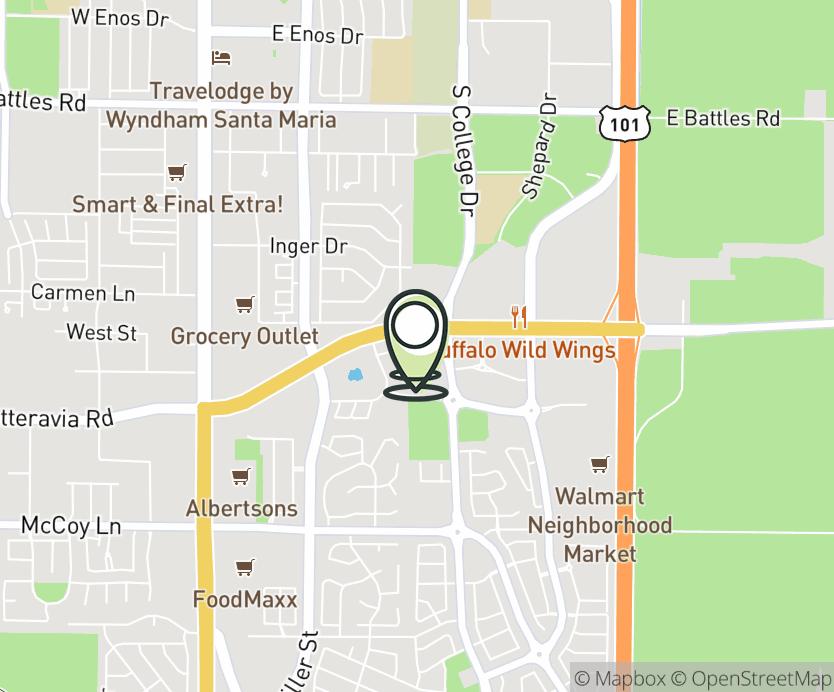Map with pin near 530 E. Betteravia Rd., Santa Maria, CA 93455 for College Square - Santa Maria.