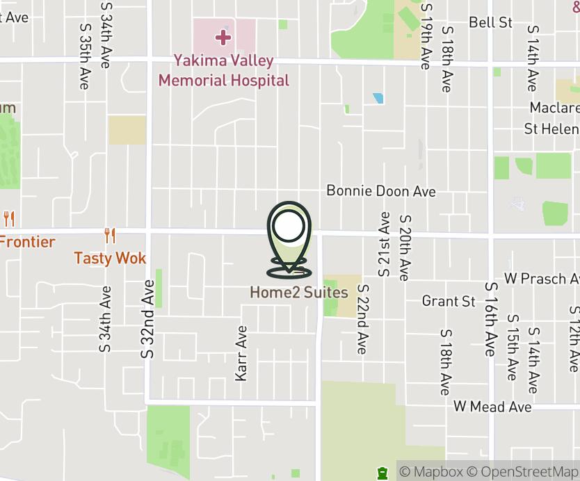 Map with pin near 2412 W Nob Hill Blvd, Yakima, WA 98902 for Rainier Square.