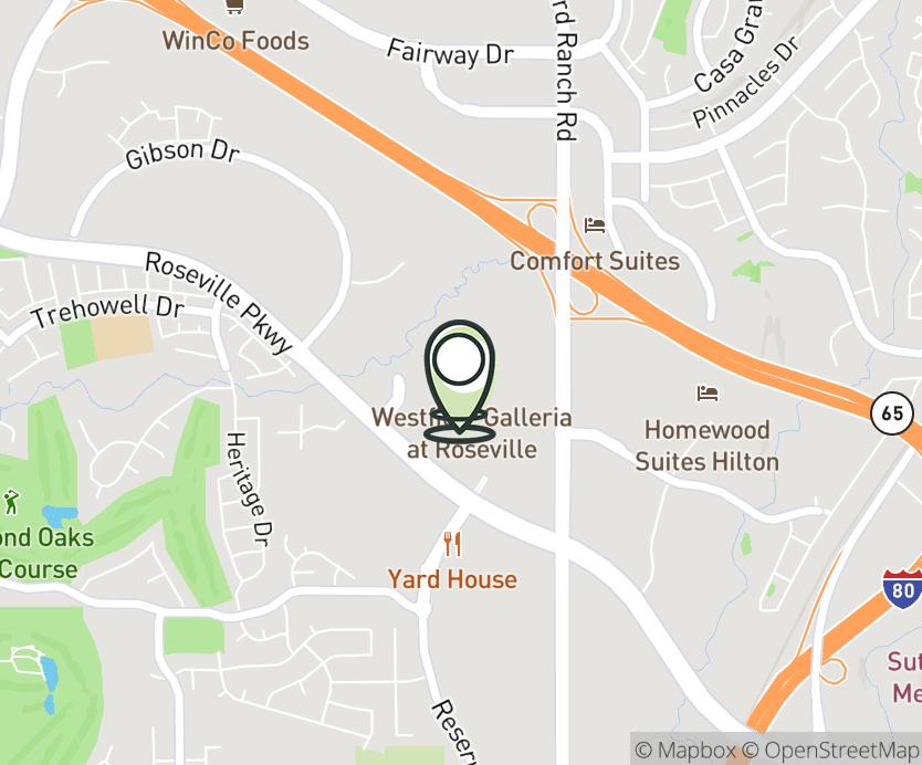 Map with pin near 1151 Galleria Blvd., Roseville, CA 95678 for Roseville Galleria.
