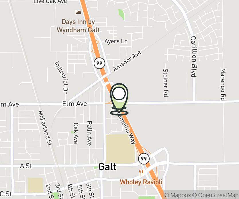 Map with pin near 952 Simmerhorn Rd, Galt, CA 95632 for Galt Travel Center.