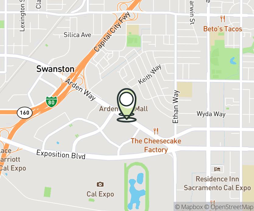 Map with pin near 1689 Arden Way, Sacramento, CA 95815 for Arden Fair Mall.