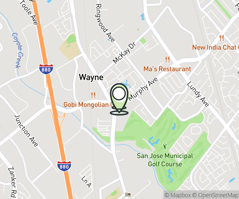 Map with pin near 1704 Oakland Rd., San Jose, CA 95131 for North Park Plaza.