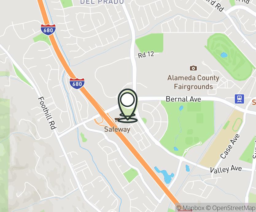 Map with pin near 6770 Bernal Avenue, Pleasanton, CA 94566 for Pleasanton Gateway.