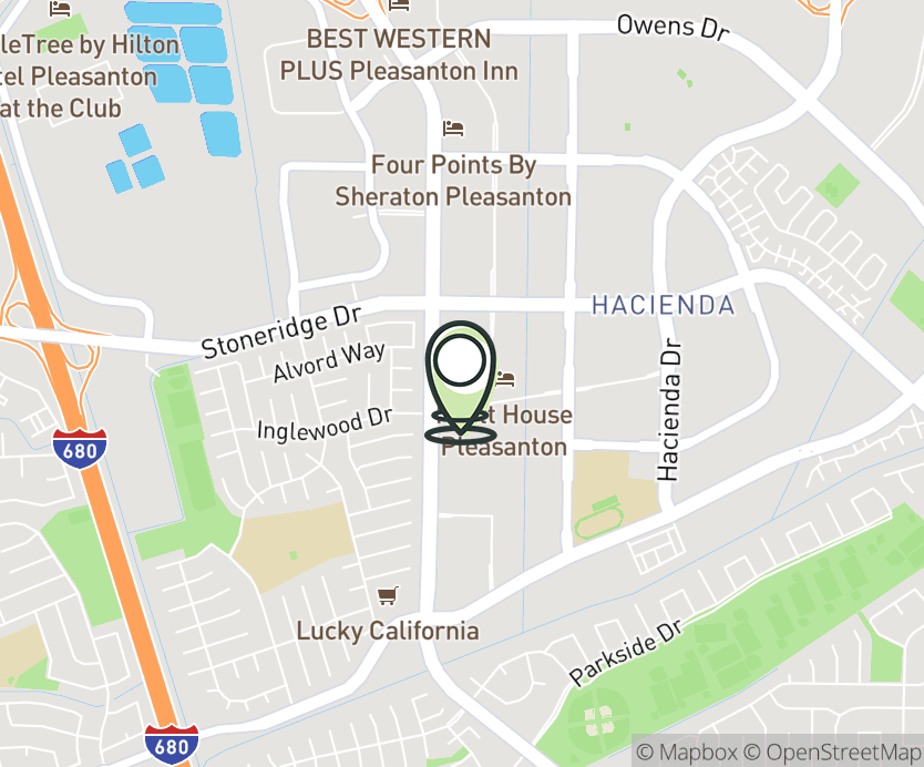 Map with pin near 4555 Hopyard, Pleasanton, CA 94588 for Pleasanton.