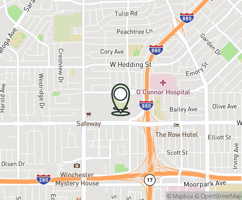 Map with pin near 2855 Stevens Creek Blvd, Santa Clara, CA 95050 for Valley Fair Mall.