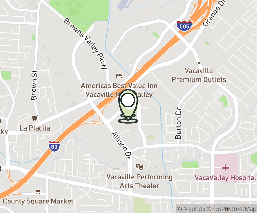 Map with pin near 2091-A Harbison Dr., Vacaville, CA 95687 for Vacaville Commons.