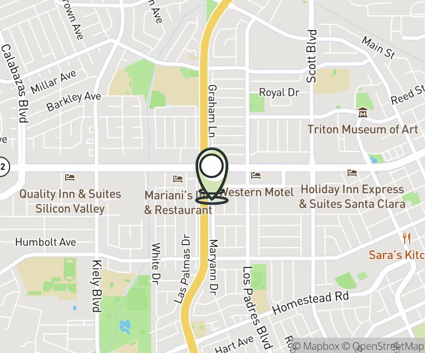 Map with pin near 2372 El Camino Real, Santa Clara, CA 95050 for San Tomas.