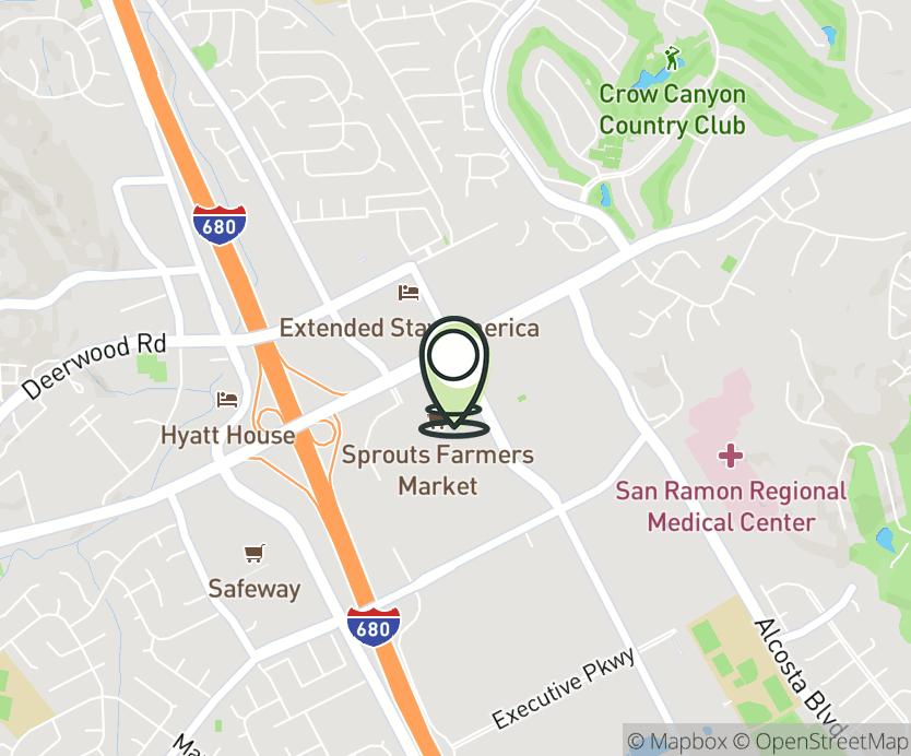 Map with pin near 3141-H Crow Canyon Place, San Ramon, CA 94583 for San Ramon.