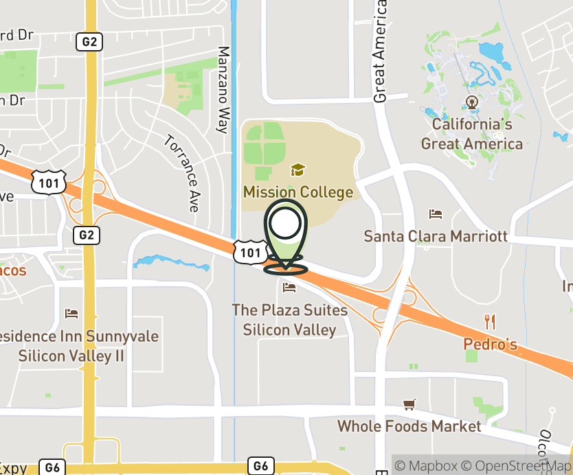 Map with pin near 3119 Mission College Blvd., Santa Clara, CA 95054 for Mission College.