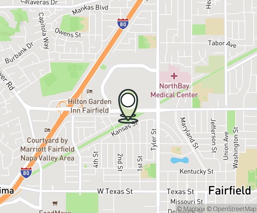 Map with pin near 1450 Travis Blvd., Fairfield, CA 94533 for Solano Mall.