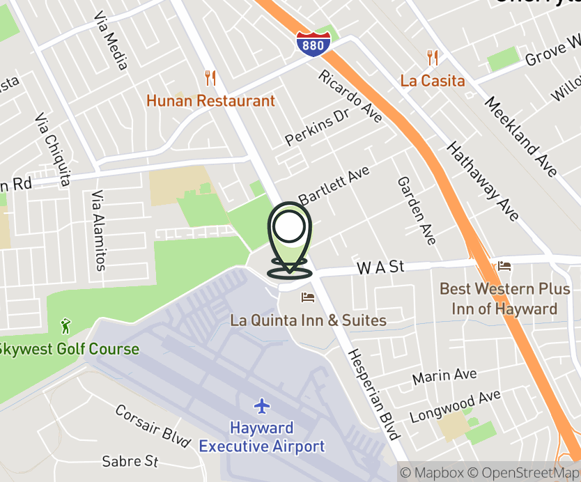 Map with pin near 19651 Hesperian Blvd., Hayward, CA 94541 for Skywest Commons.