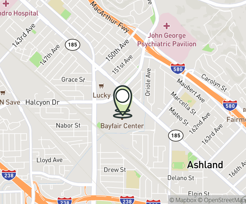 Map with pin near 15555 E. 14th Street, San Leandro, CA 94578 for Bayfair Mall.