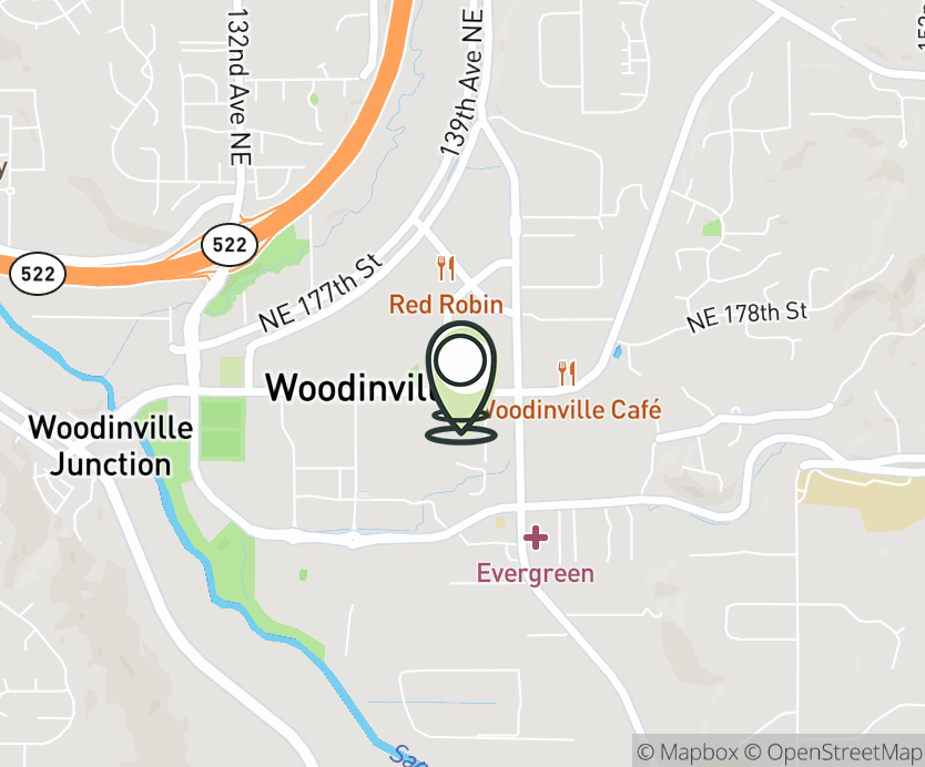 Map with pin near 13804 NE 175th Street, Woodinville, WA 98072 for Woodinville.