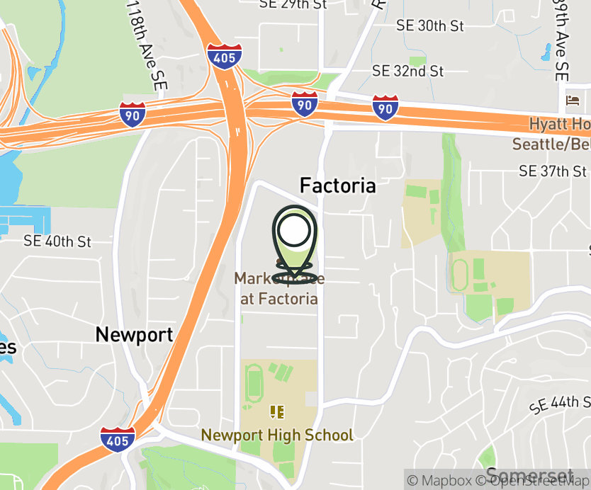Map with pin near 3930 Factoria Mall SE, Bellevue, WA 98006 for Factoria Mall.