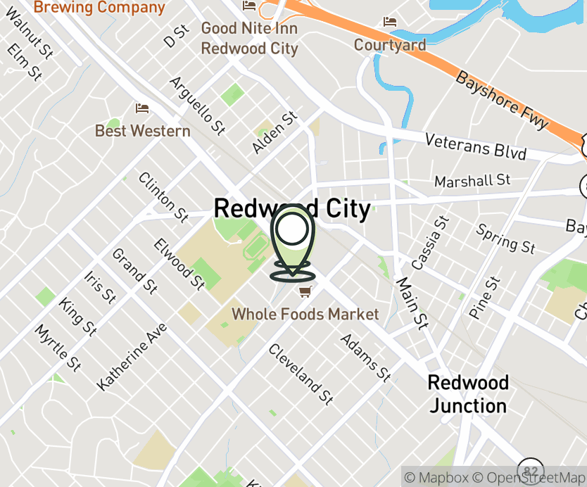 Map with pin near 1007 El Camino Real, Redwood City, CA 94063 for Redwood City - Sequoia Station.