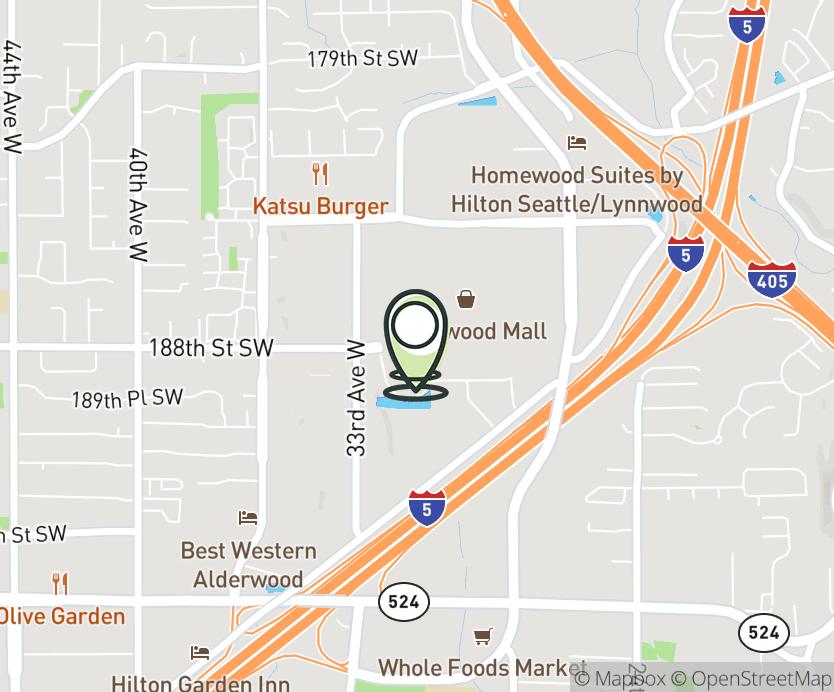 Map with pin near 3000-184th Street SW, Lynnwood, WA 98037 for Alderwood Mall.