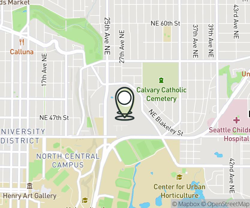Map with pin near 2690 NE 49th Street, Seattle, WA 98105 for University Village.