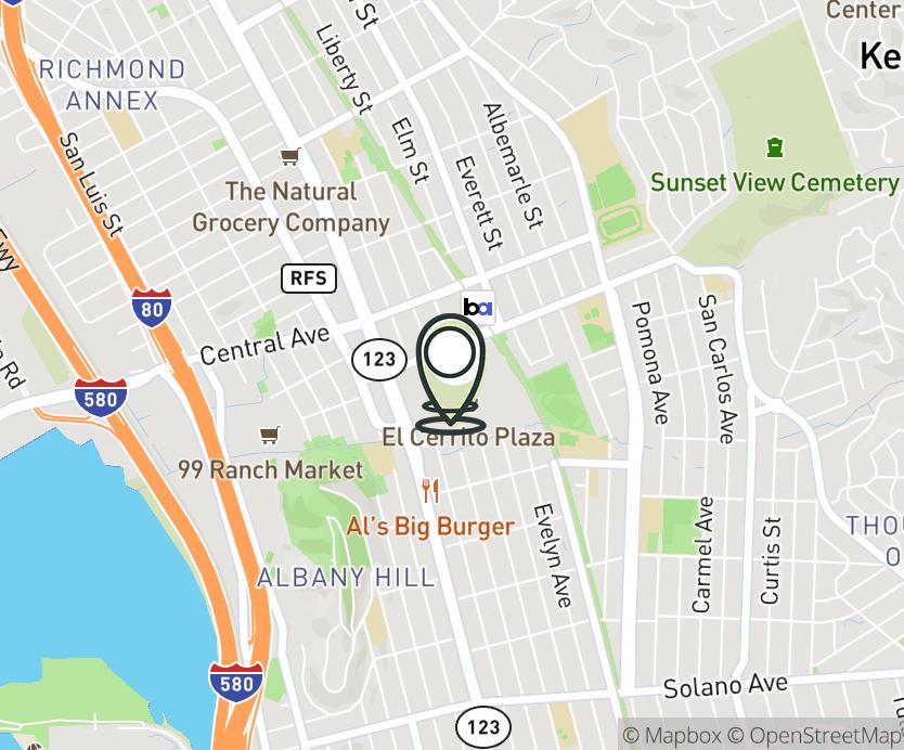 Map with pin near 5030 El Cerrito Plaza, El Cerrito, CA 94530 for El Cerrito Plaza.