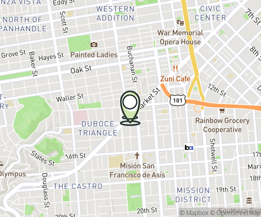 Map with pin near 2014 Market Street, San Francisco, CA 94114 for Church & Market.