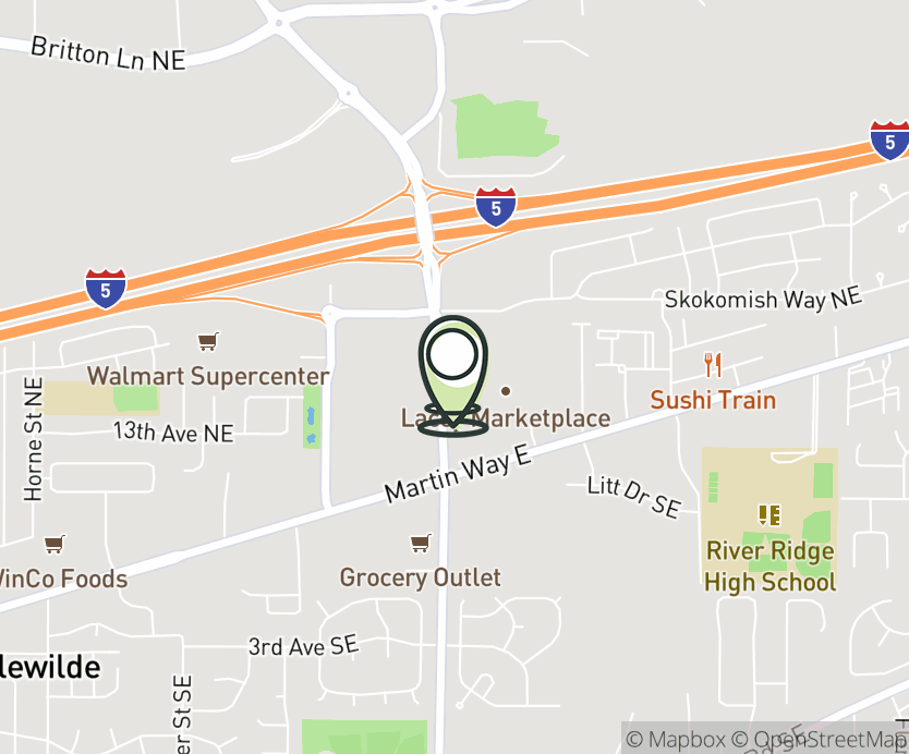 Map with pin near 1350 Marvin Rd N.E., Lacey, WA 98516 for Lacey Marketplace.