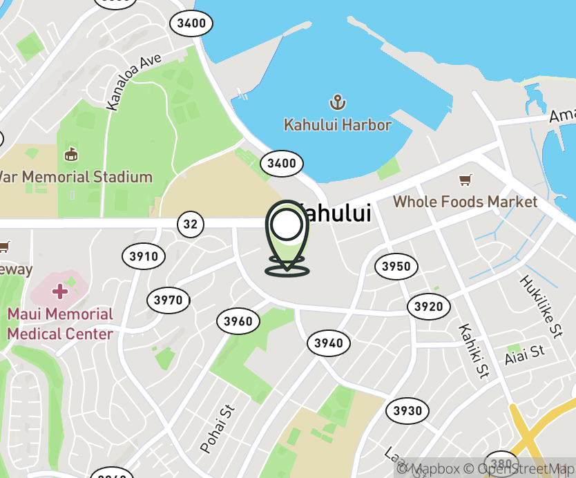 Map with pin near 275 West Kaahumanu Ave., Kahului (Maui), HI 96732 for Queen Kaahumanu Center.