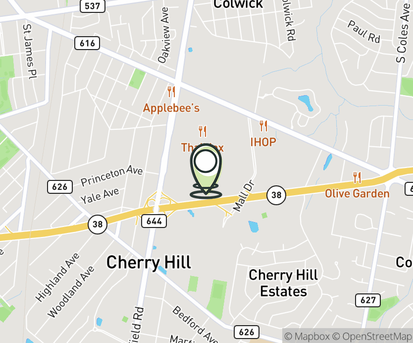 Map with pin near 2000 NJ-38, Cherry Hill, NJ 08002 for Cherry Hill Mall.