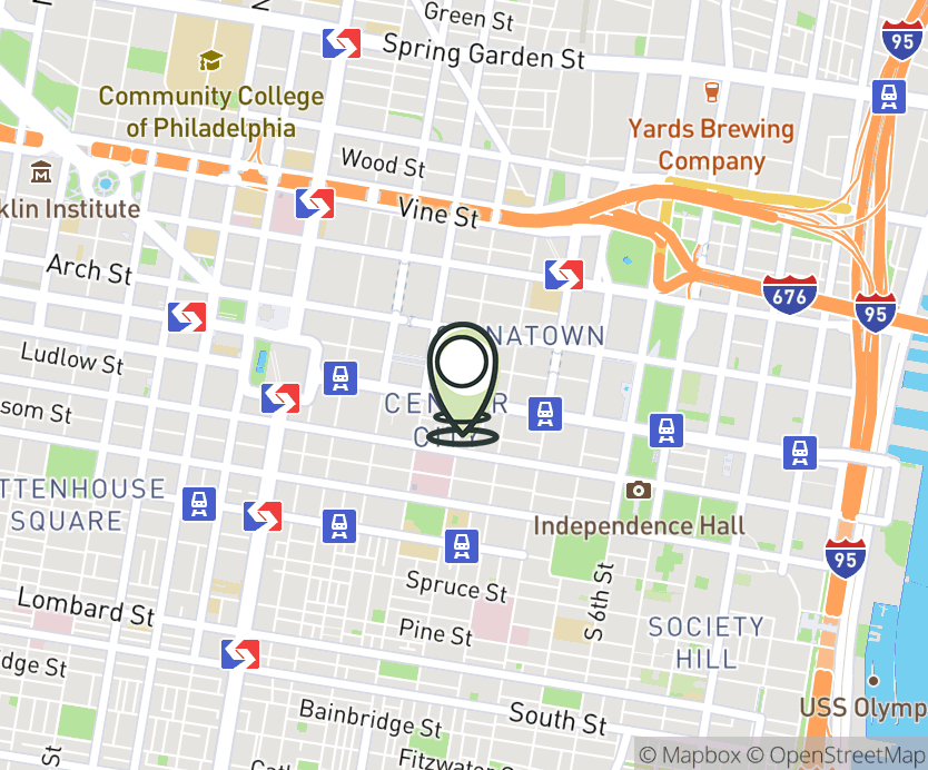 Map with pin near 907 Market St, Philadelphia, PA 19107 for Fashion District Philadelphia.