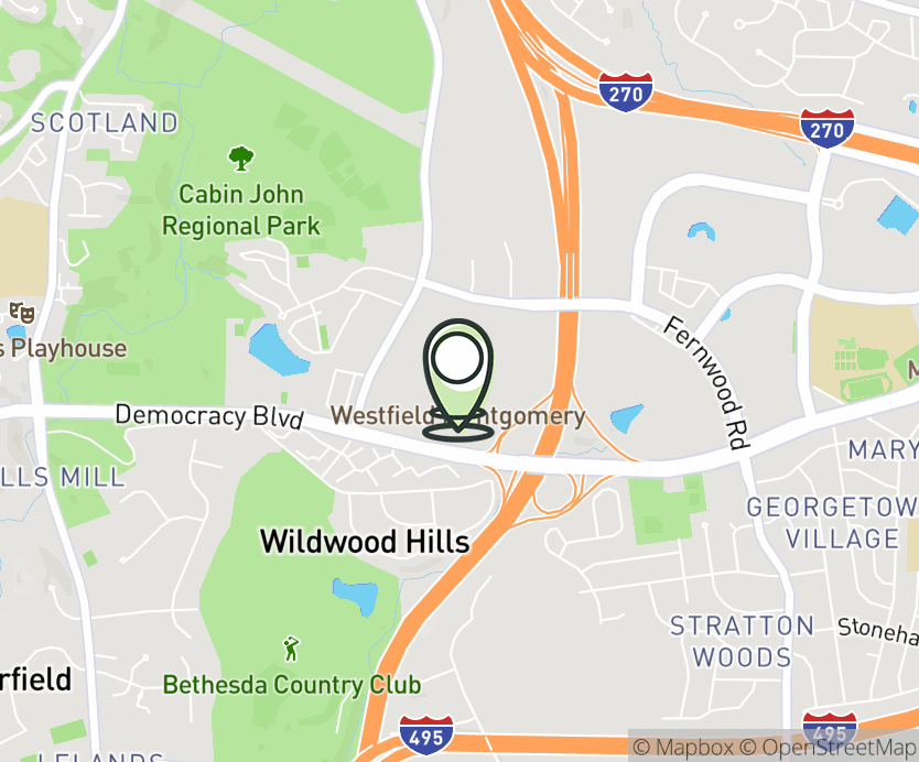 Map with pin near 7101 Democracy Blvd, Bethesda, MD 20817 for Westfield Montgomery Mall.