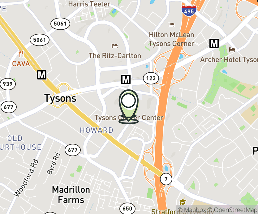 Map with pin near 1961 Chains Bridge Rd, Tysons, VA 22102 for Tyson's Corner Center.