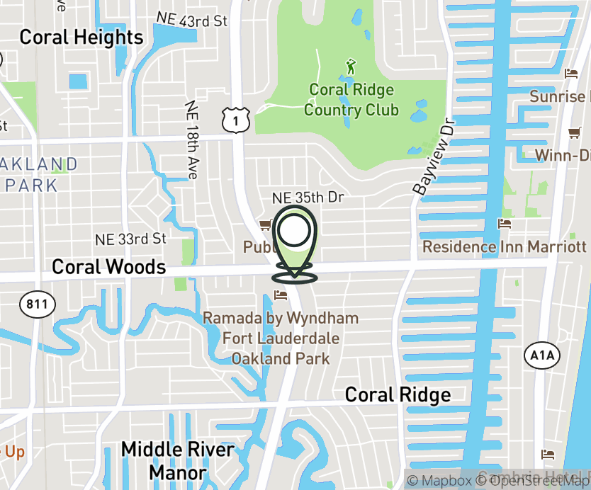 Map with pin near 3200 N Federal Hwy., Fort Lauderdale, FL 33306 for Coral Ridge Mall.