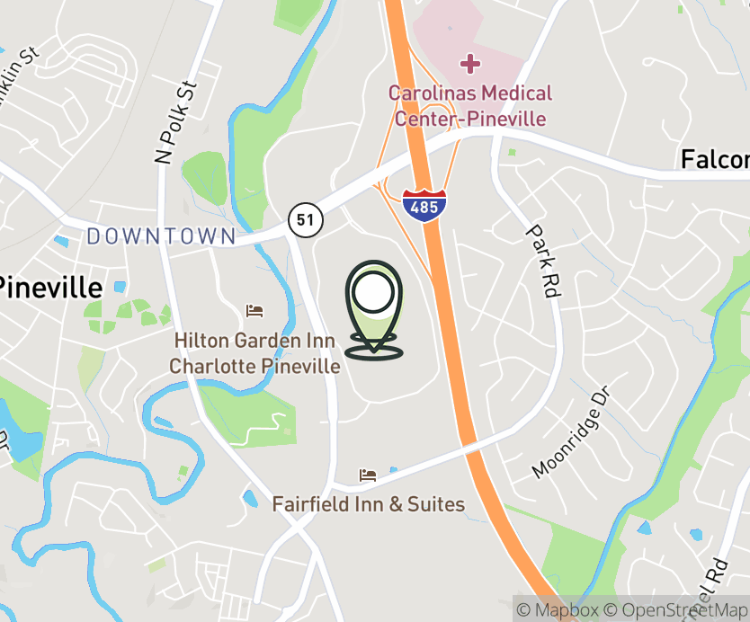 Map with pin near 11025 Carolina Pl Pkwy, Pineville, NC 28134 for Carolina Place Mall.